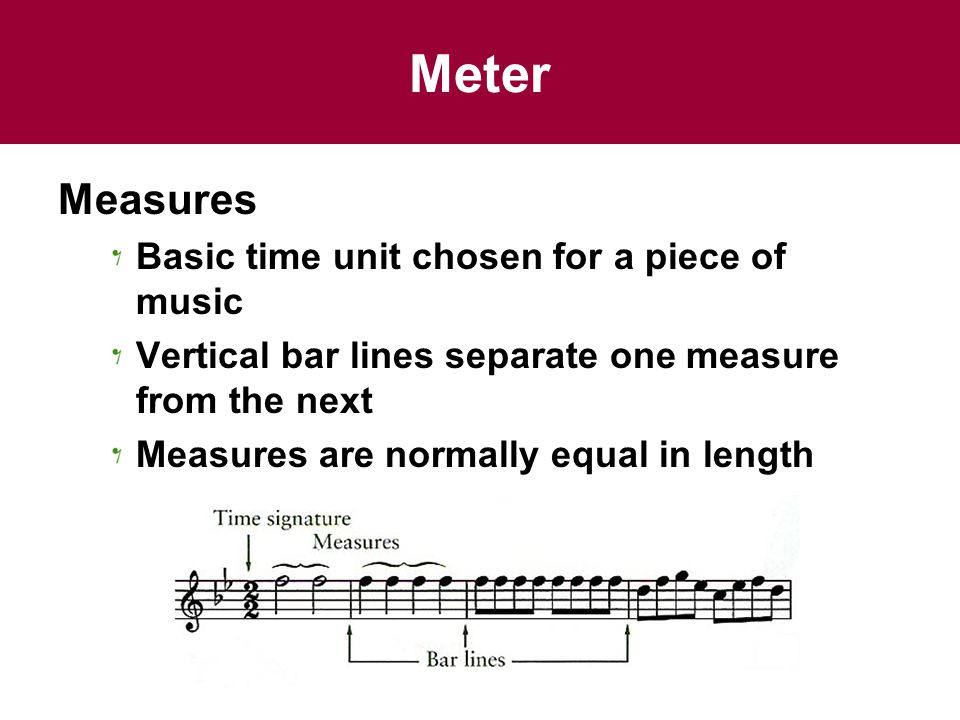 Meter Measures Basic time unit chosen for a piece of music