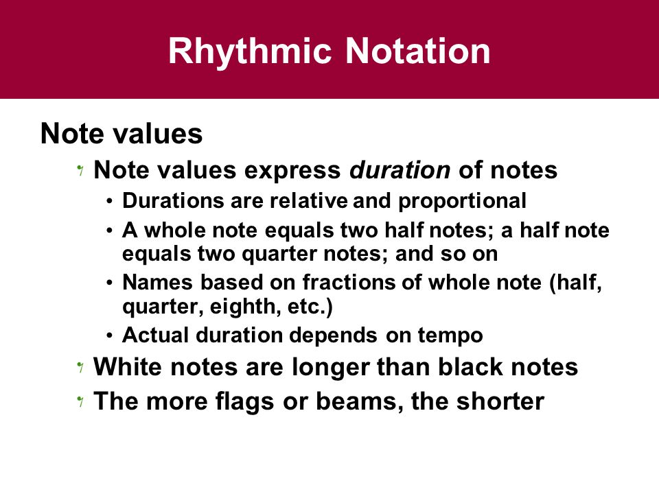 Rhythmic Notation Note values Note values express duration of notes