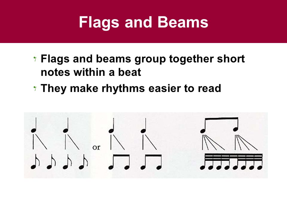 Flags and Beams Flags and beams group together short notes within a beat.