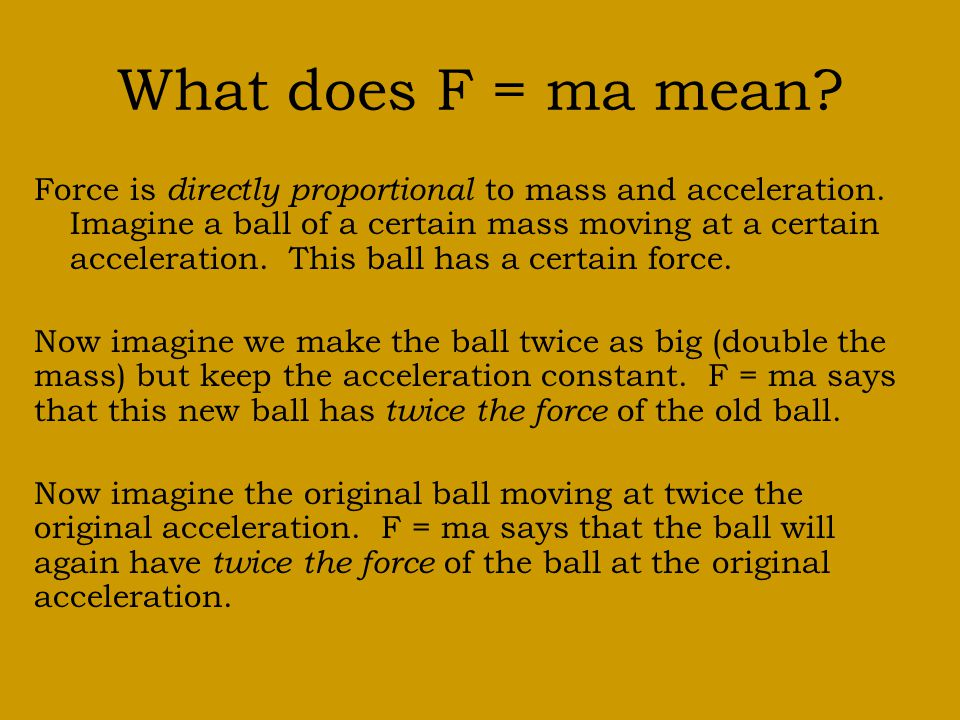 What does F = ma mean