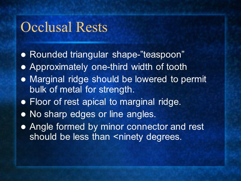 Occlusal Rests Rounded triangular shape- teaspoon