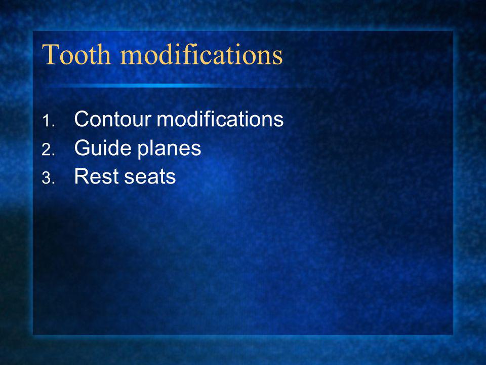 Tooth modifications Contour modifications Guide planes Rest seats