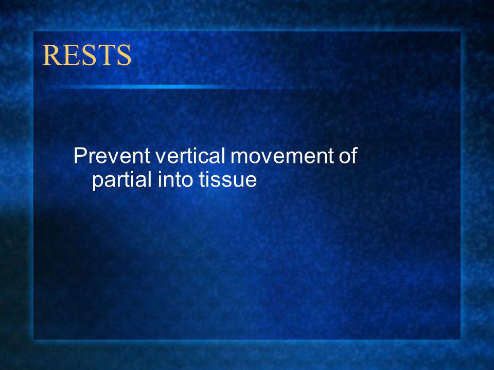 RESTS Prevent vertical movement of partial into tissue