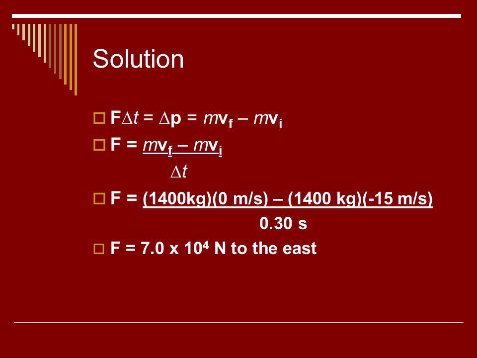 Solution F∆t = ∆p = mvf – mvi F = mvf – mvi ∆t
