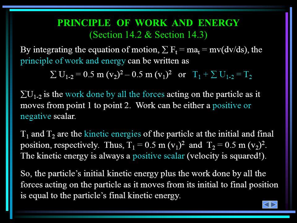 PRINCIPLE OF WORK AND ENERGY
