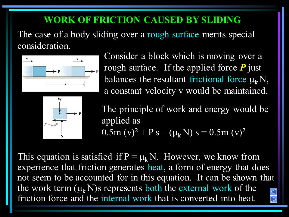 WORK OF FRICTION CAUSED BY SLIDING
