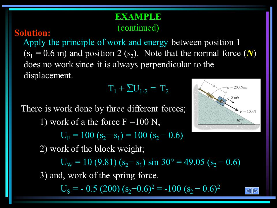 EXAMPLE (continued) Solution: Apply the principle of work and energy between position 1.