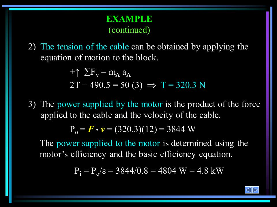 EXAMPLE (continued) 2) The tension of the cable can be obtained by applying the equation of motion to the block.