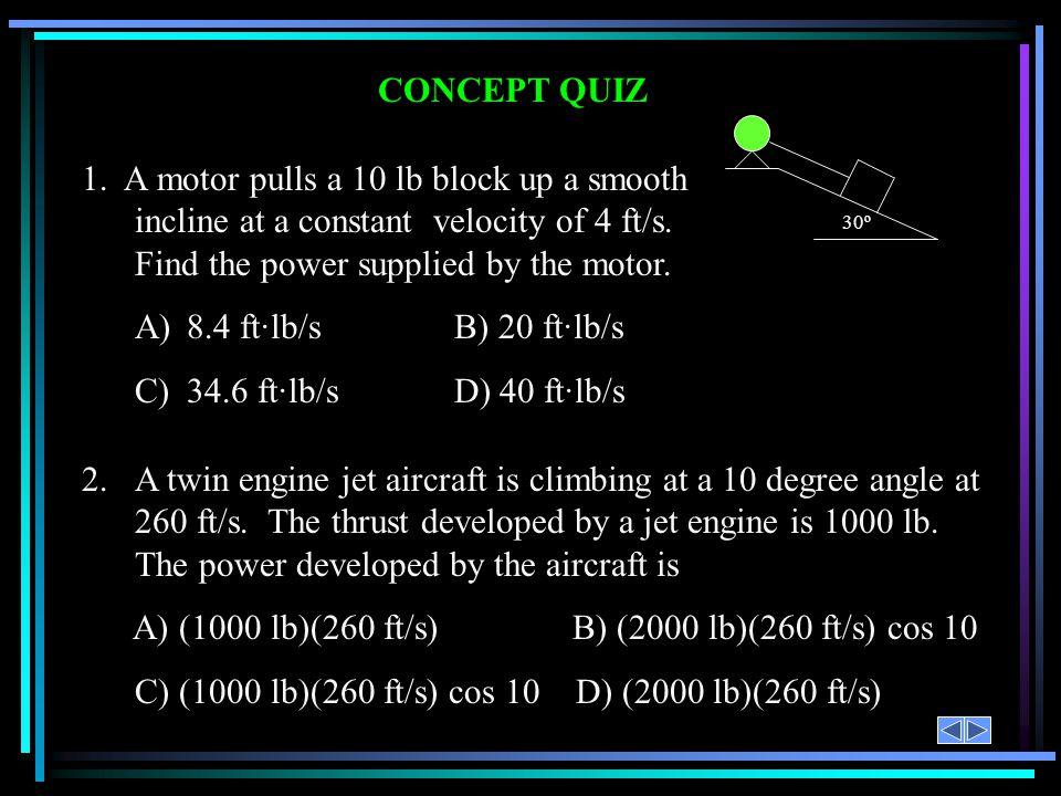 A) (1000 lb)(260 ft/s) B) (2000 lb)(260 ft/s) cos 10