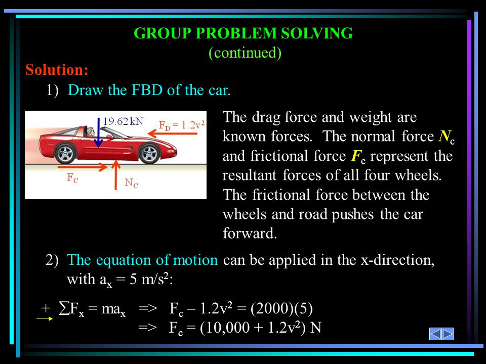 GROUP PROBLEM SOLVING (continued) Solution: 1) Draw the FBD of the car.