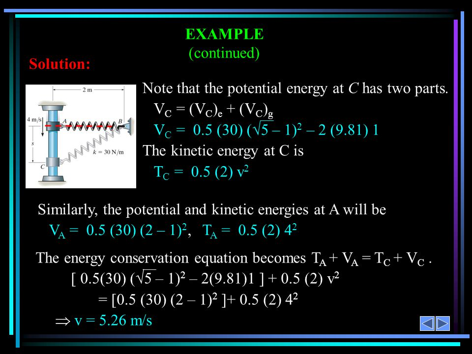 EXAMPLE (continued) Solution: Note that the potential energy at C has two parts. VC = (VC)e + (VC)g.