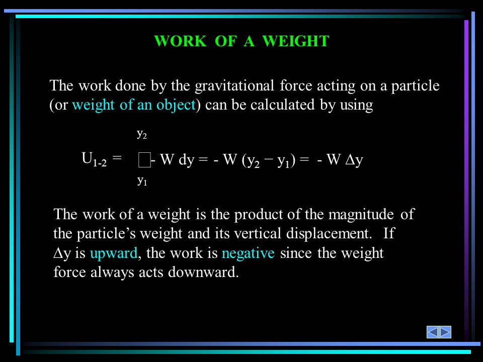 WORK OF A WEIGHT The work done by the gravitational force acting on a particle (or weight of an object) can be calculated by using.