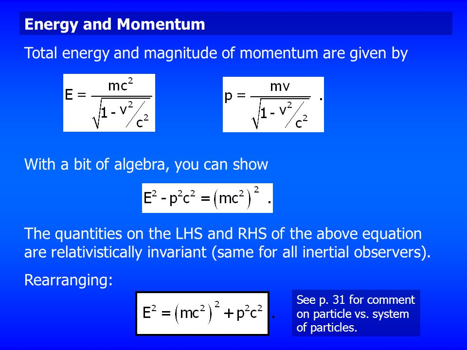 Total energy and magnitude of momentum are given by