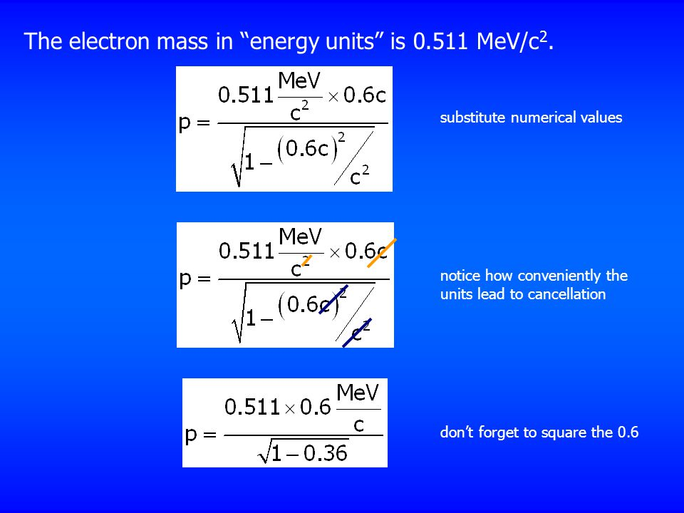 The electron mass in energy units is 0.511 MeV/c2.