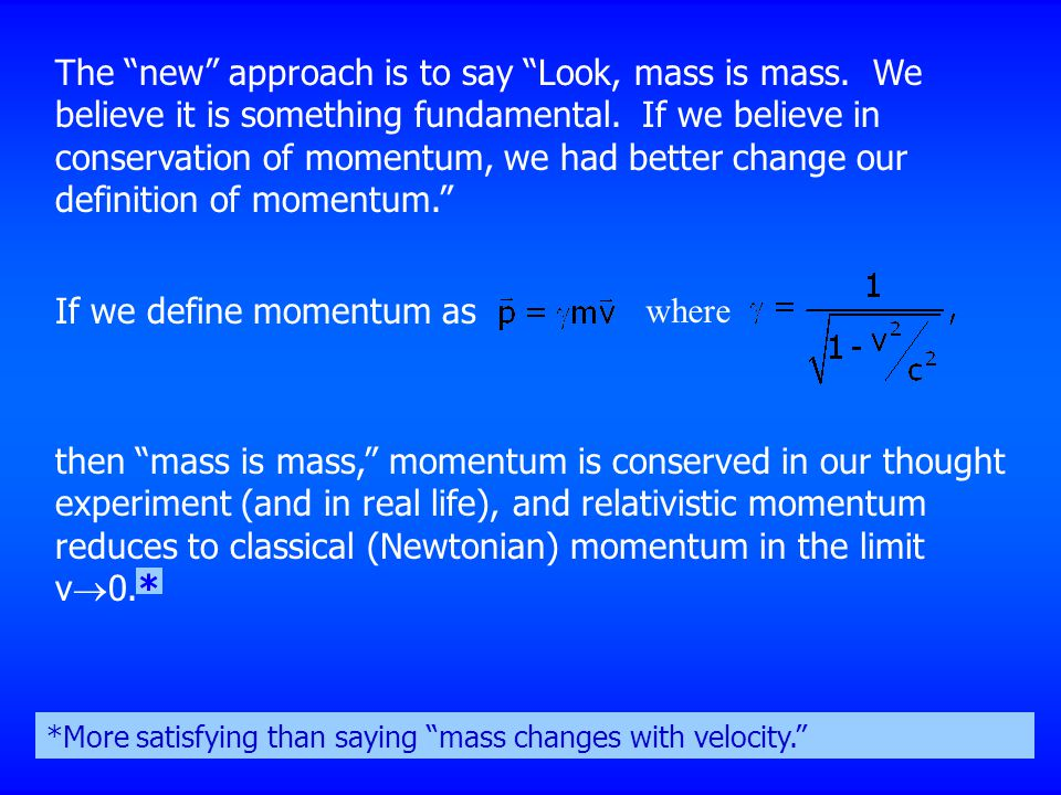 If we define momentum as where