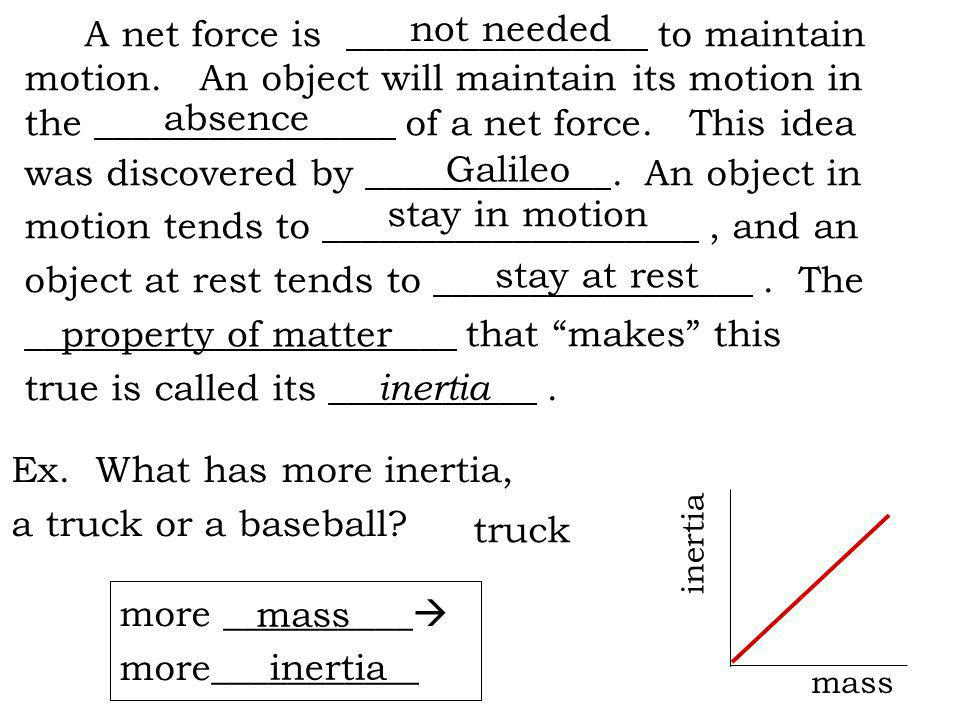 A net force is ________________ to maintain