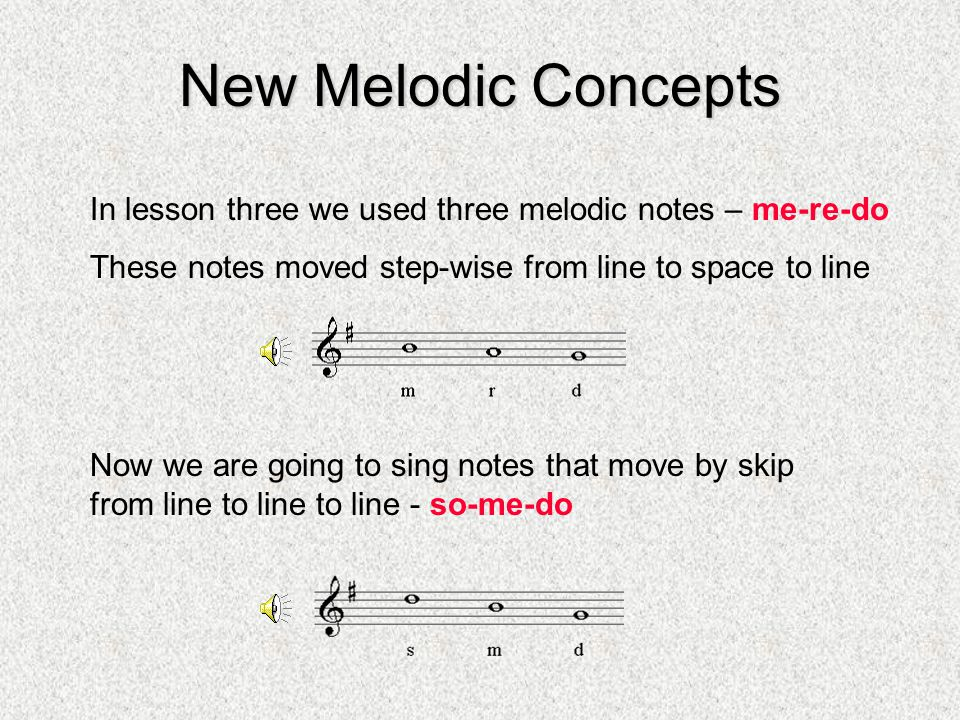 New Melodic Concepts In lesson three we used three melodic notes – me-re-do. These notes moved step-wise from line to space to line.