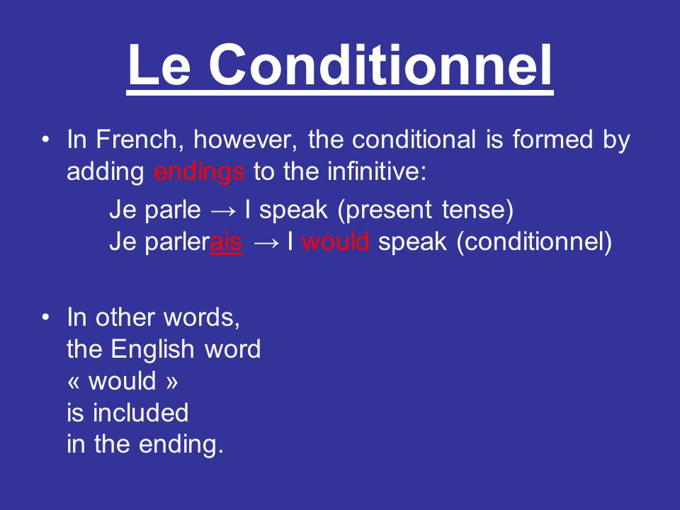Le Conditionnel In French, however, the conditional is formed by adding endings to the infinitive:
