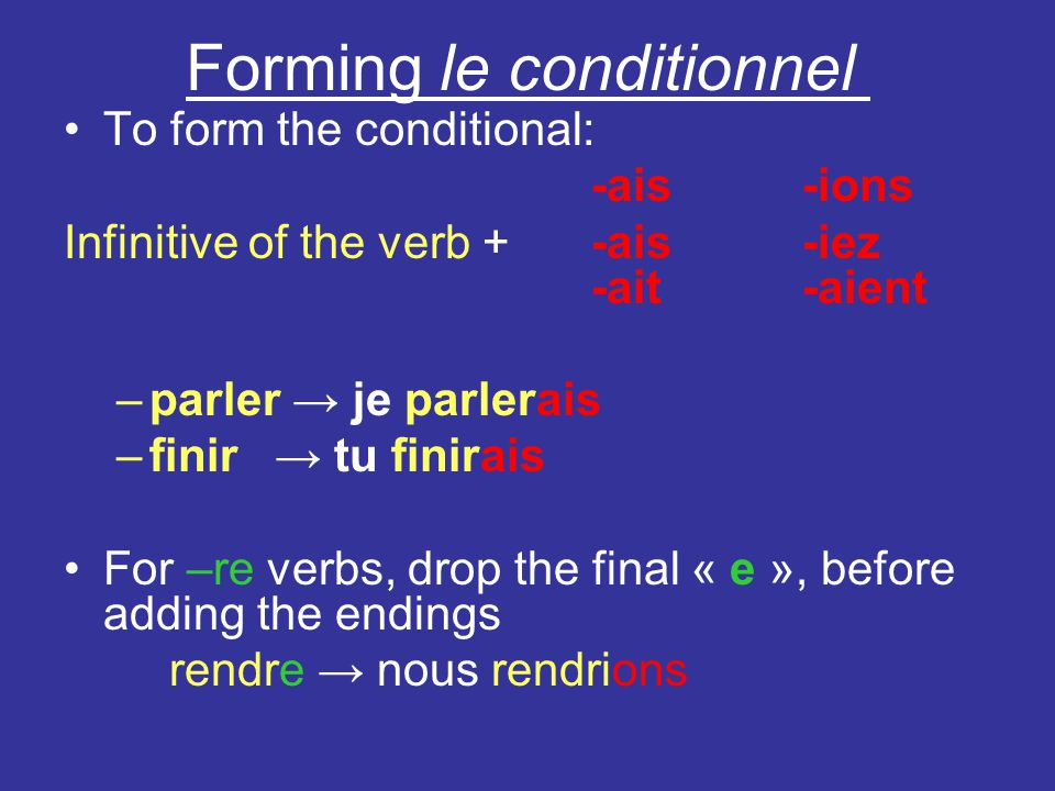 Forming le conditionnel