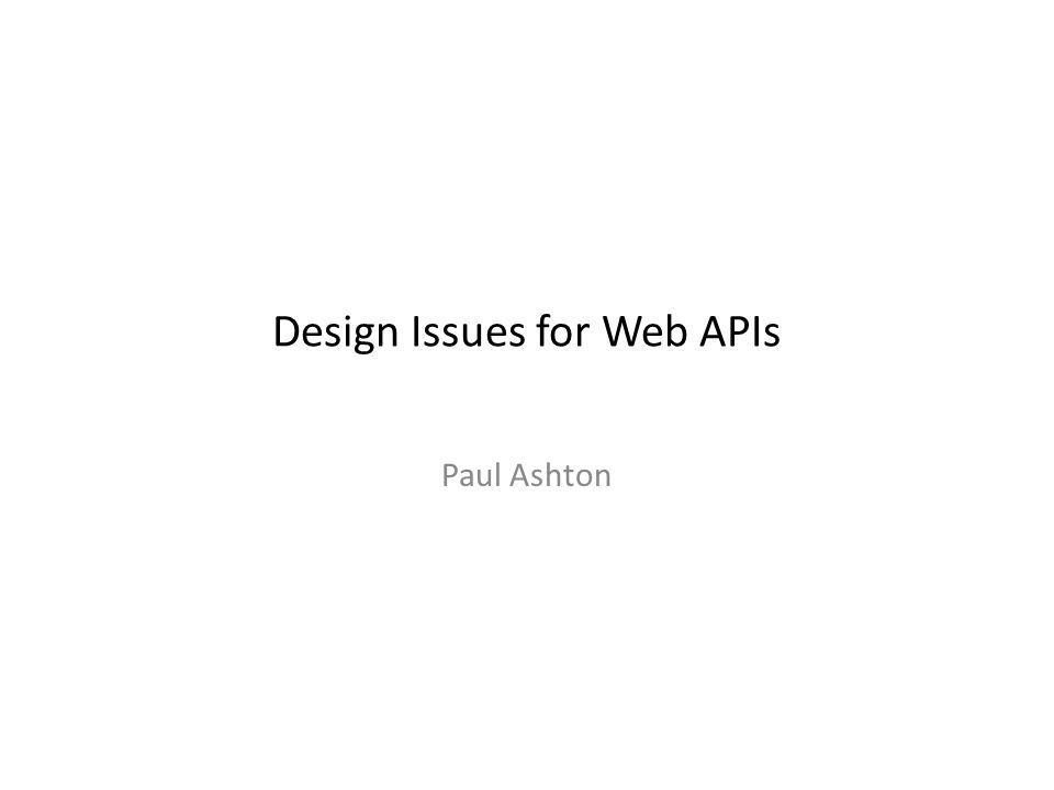 Design Issues for Web APIs