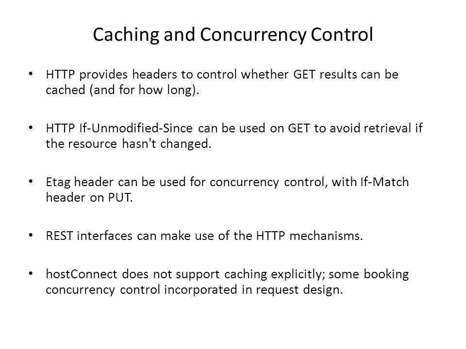 Caching and Concurrency Control