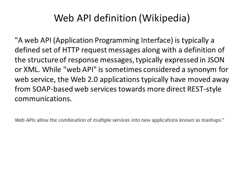Web API definition (Wikipedia)