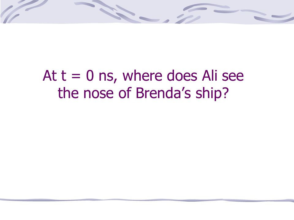 At t = 0 ns, where does Ali see the nose of Brenda's ship
