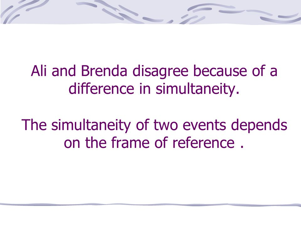 Ali and Brenda disagree because of a difference in simultaneity