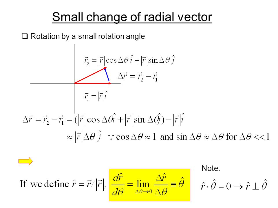 Small change of radial vector