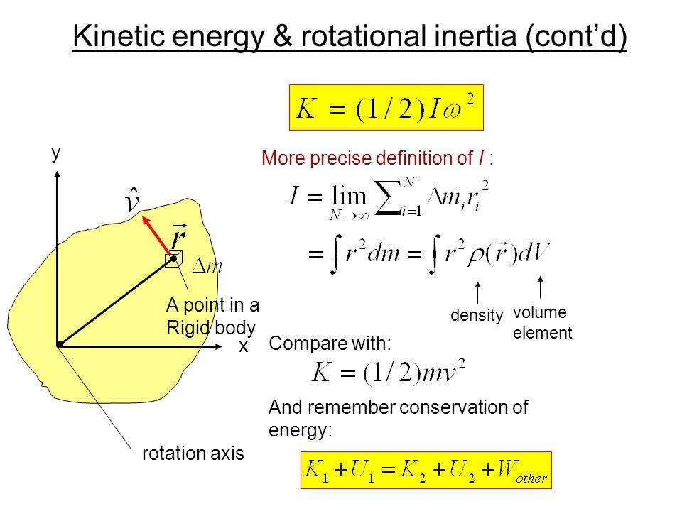 Kinetic energy & rotational inertia (cont'd)