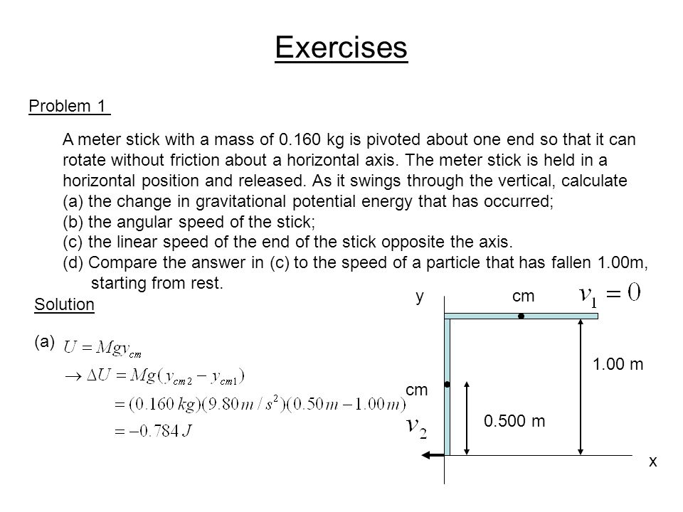 Exercises Problem 1. A meter stick with a mass of 0.160 kg is pivoted about one end so that it can.