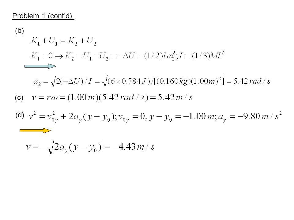 Problem 1 (cont'd) (b) (c) (d)
