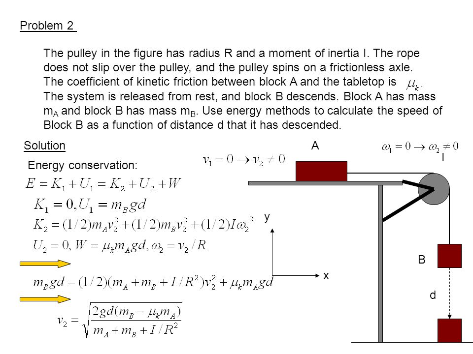 Problem 2 The pulley in the figure has radius R and a moment of inertia I. The rope.