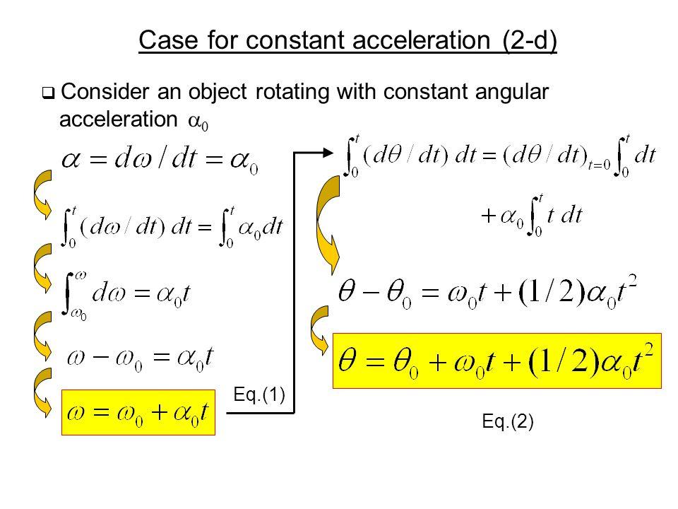 Case for constant acceleration (2-d)