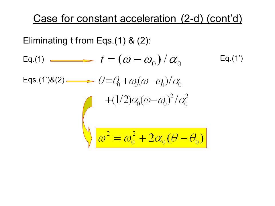 Case for constant acceleration (2-d) (cont'd)