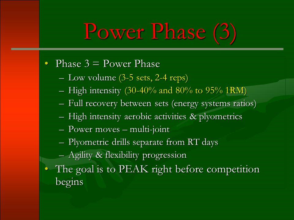 Power Phase (3) Phase 3 = Power Phase