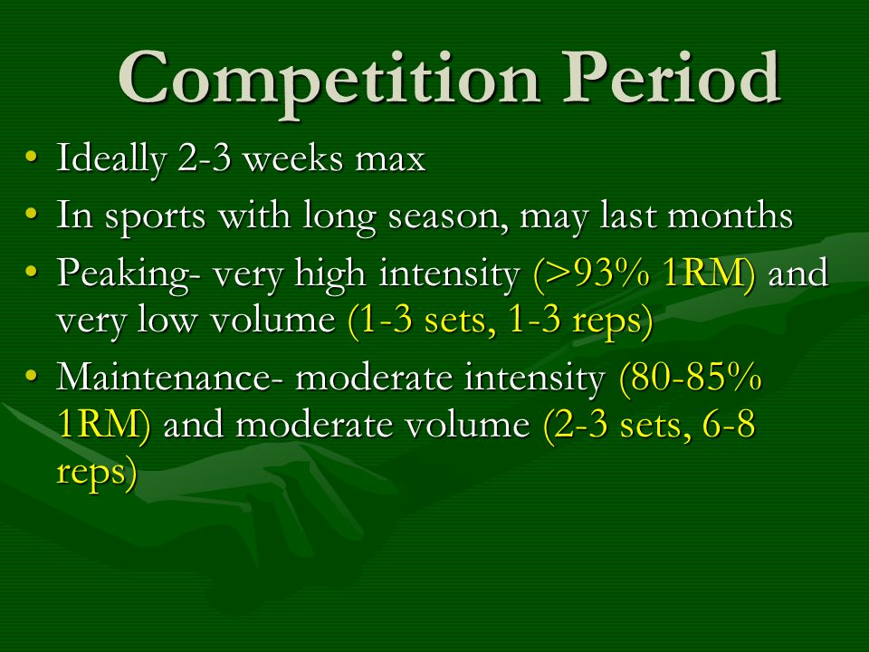 Competition Period Ideally 2-3 weeks max