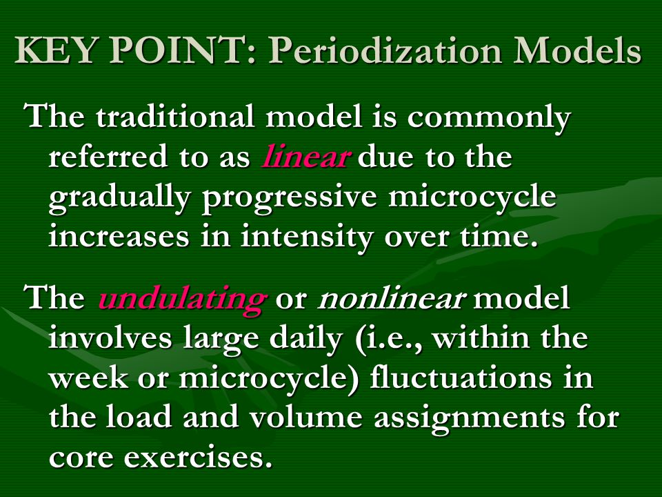 KEY POINT: Periodization Models