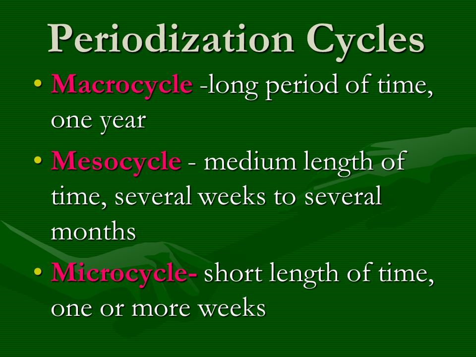 Periodization Cycles Macrocycle -long period of time, one year