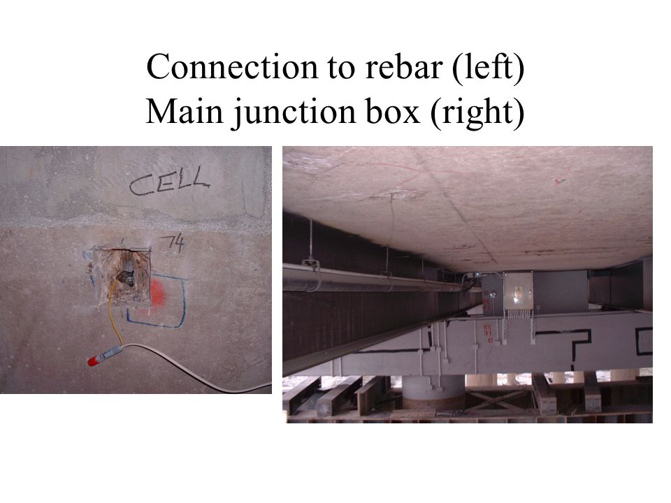 Connection to rebar (left) Main junction box (right)