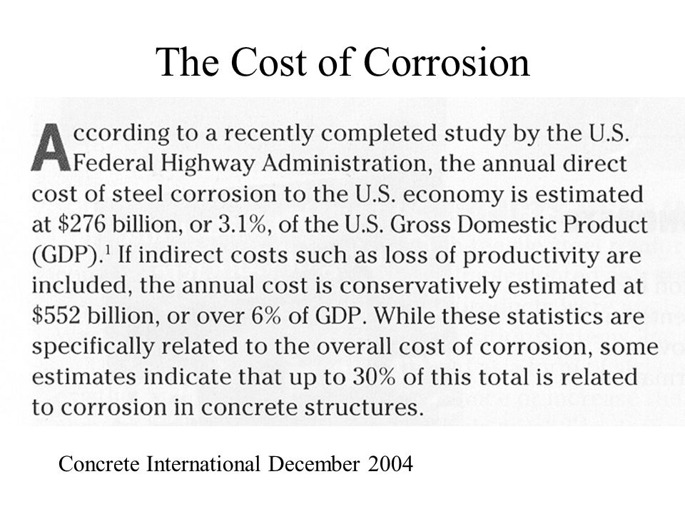 The Cost of Corrosion Concrete International December 2004