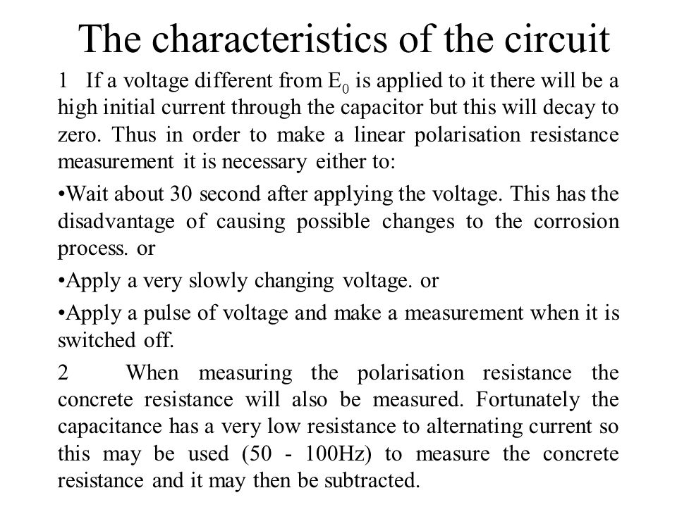 The characteristics of the circuit
