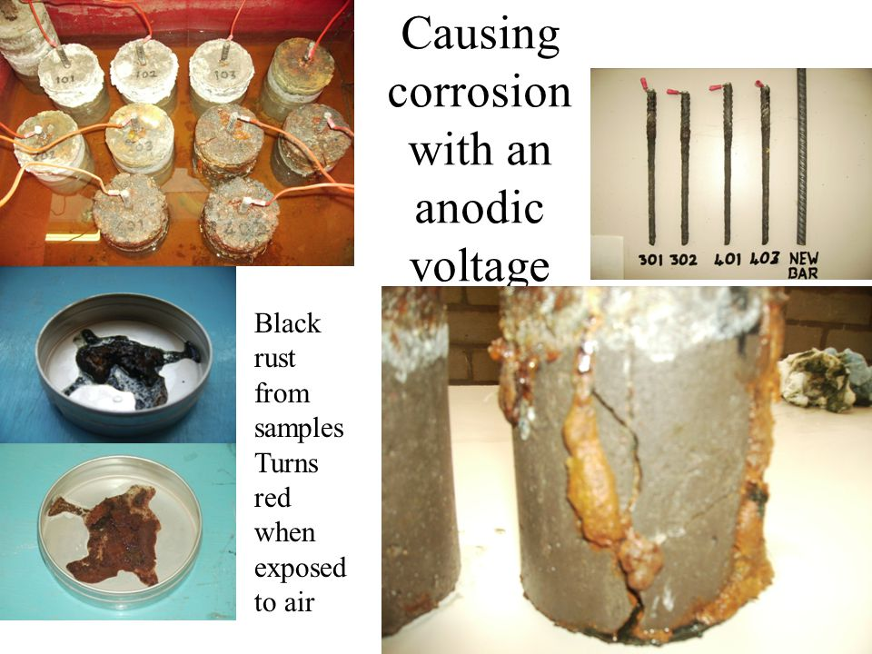 Causing corrosion with an anodic voltage