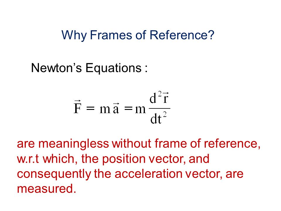 Why Frames of Reference