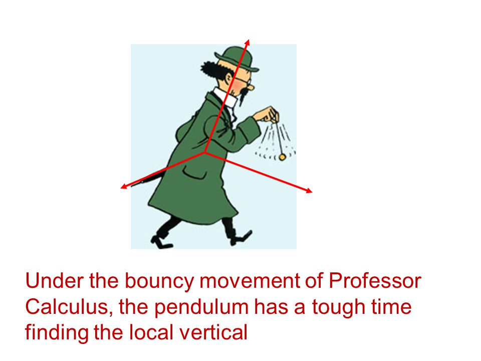 Under the bouncy movement of Professor Calculus, the pendulum has a tough time finding the local vertical