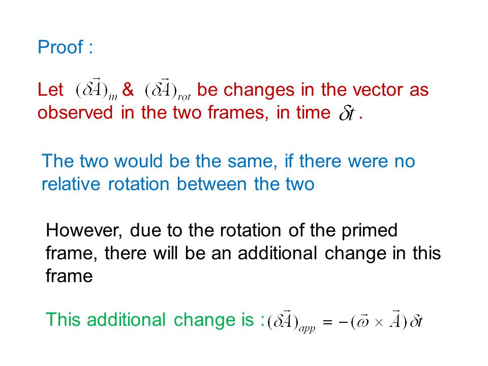 Proof : Let & be changes in the vector as observed in the two frames, in time .
