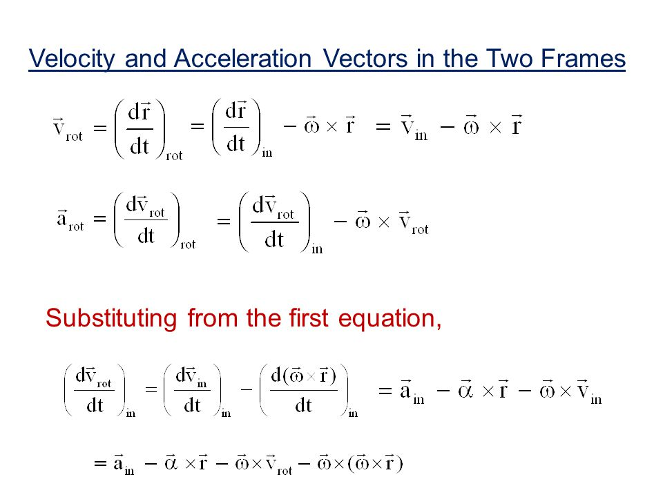 Velocity and Acceleration Vectors in the Two Frames