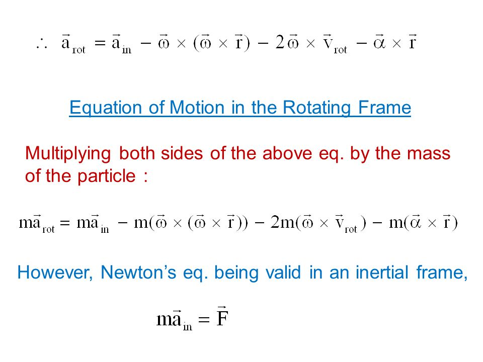 Equation of Motion in the Rotating Frame