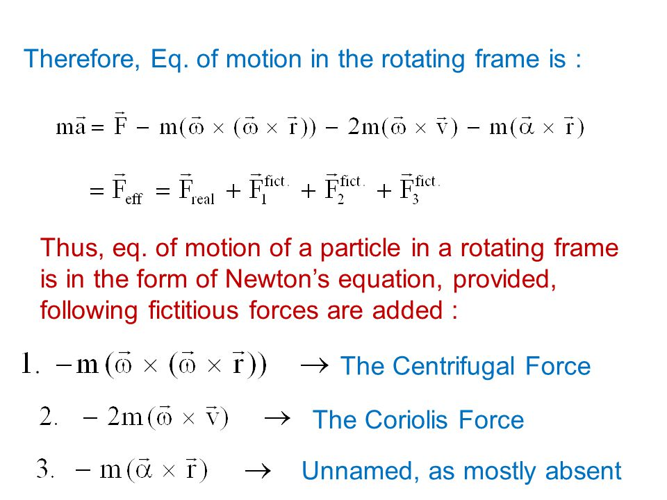 Therefore, Eq. of motion in the rotating frame is :