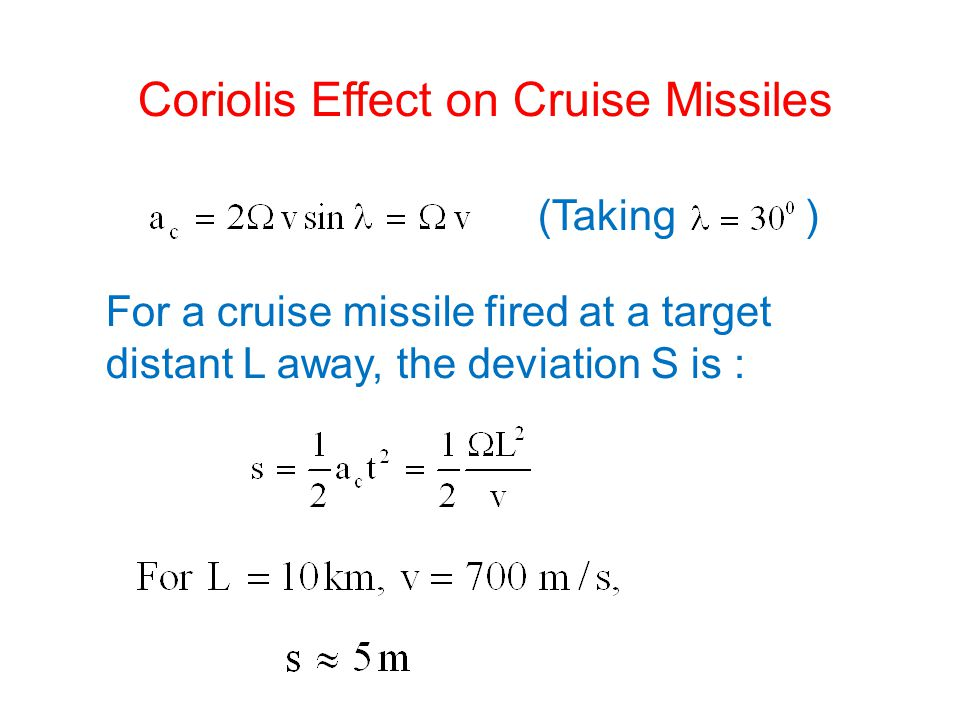Coriolis Effect on Cruise Missiles